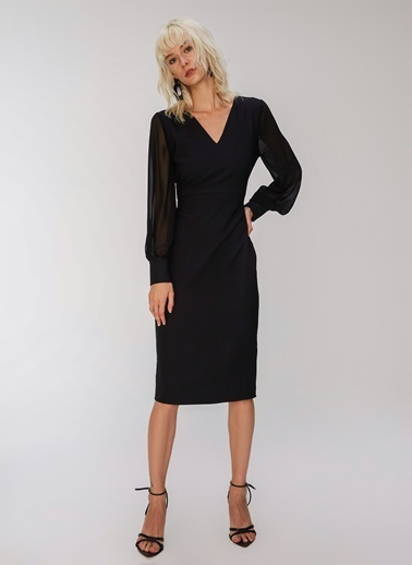 People By Fabrika Kolları Şifon Midi Elbise Siyah